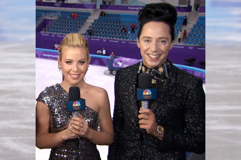 Watch Spotting: Johnny Weir Wearing A Two-Tone Rolex Datejust At The 2018 Winter Olympic Games
